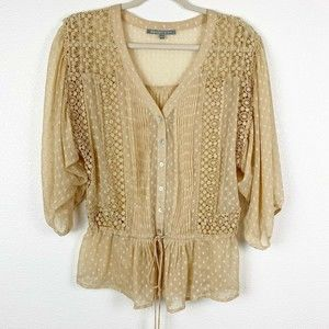 Daniel Rainn Button Down V-Neck Blouse Crochet Med
